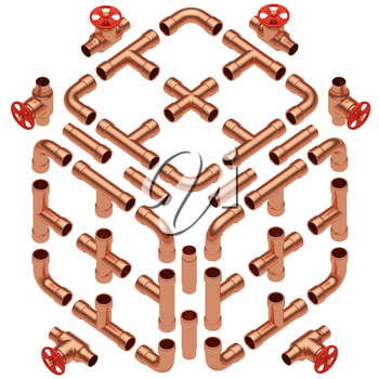 Copper pipeline construction details collection: copper pipes, valves, tubes, fittings, couplers and other copper pipeline elements set isolated on white diagonal view, industrial 3d illustration