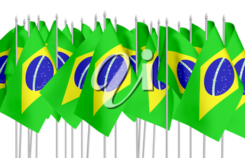 Many small flags of Federative Republic of Brazil in row isolated on white background, 3d illustration