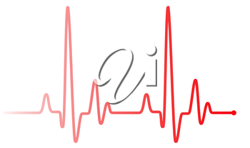 Red heart pulse graphic line on white. Healthcare medical sign with heart cardiogram, cardiology concept pulse rate diagram illustration.