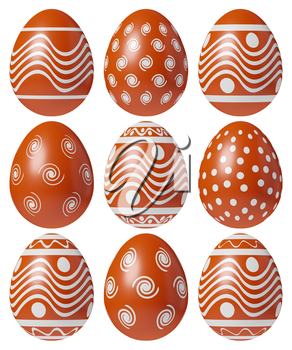 Red Easter eggs painted with white simple decor isolated on white background, Easter eggs set, easter symbol, 3D illustration.