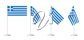 National flag of Greece, set of small table flag of Greece on stand isolated on white 3D illustrations.