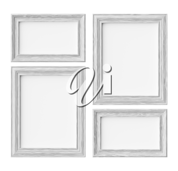 White wood blank frames for picture or photo isolated on white with shadows, decorative wooden picture frames template set, art frame mock-up 3D illustration
