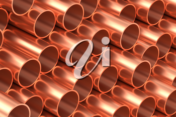 Heavy metallurgical industry production and non-ferrous industrial products creative abstract illustration: many stainless metal copper pipes lying in rows, creative  industrial background