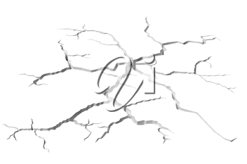 Abstract illustration of the danger, destruction and damage concept: cracks in white surface of the white wall or white floor, closeup view, abstract 3d illustration