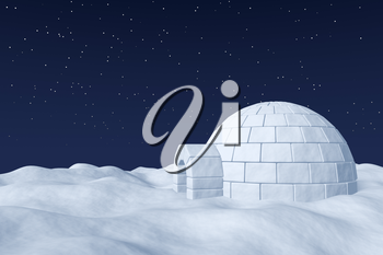 Winter north polar natural night snowy landscape: eskimo house igloo icehouse made with white snow at night on surface of polar white snow field under cold night north sky with bright stars