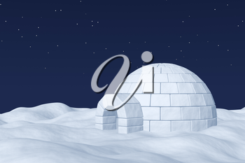 Winter north polar natural night snowy landscape: eskimo house igloo icehouse made with white snow at night on the surface of polar white snow field under cold night north sky with bright stars.