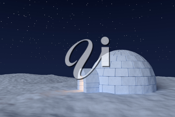 Winter north polar snowy landscape: eskimo house igloo icehouse with warm light inside made with snow at night on the surface of snow field under cold north sky with bright night stars