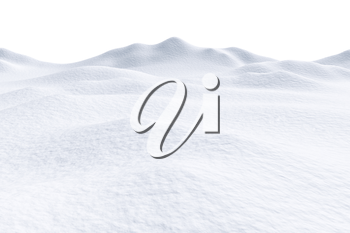White snow hills and smooth snow surface isolated on white background, 3d illustration, winter landscape