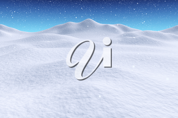 White snowy hills unred snowfall and bright winter blue sky, winter snow 3d illustration landscape