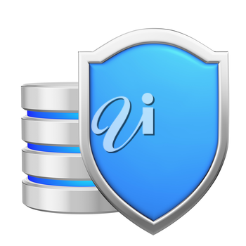 Data base behind blue metal shield protected from unauthorized access, data protection concept, 3d illustration icon isolated on white background for Data Protection Day