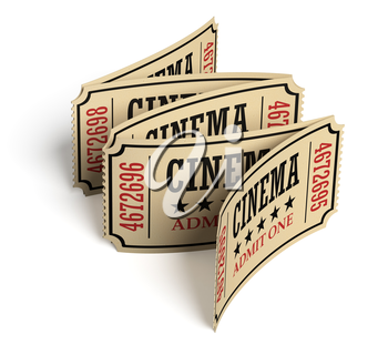 Five vintage retro cinema tickets made of yellow textured paper on white surface with shadows, closeup view, 3d illustration. Vintage retro cinema creative concept.