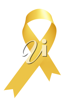 Yellow ribbon International Childhood Cancer Awareness Day sign isolated on white awareness campaign in february month, design element 3D illustration.