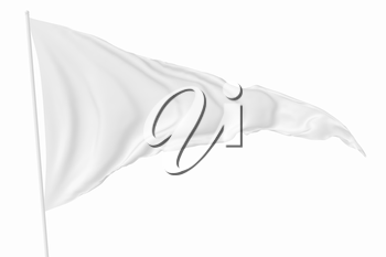Triangular white flag on flagpole flying in the wind isolated on white, 3d illustration