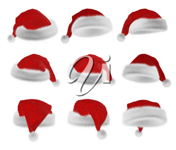 Fluffy Santa Claus red hat collection isolate on white background 3d illustration, objects set