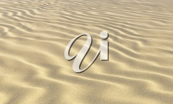 Yellow dry sand on the beach with waves under bright summer sun light closeup perspective view nature 3D illustration