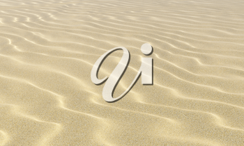 Light dry wavey sand on the beach with waves under bright summer sunlight close-up perspective view, nature 3D illustration background