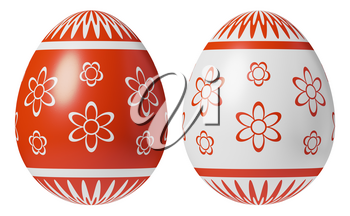 Two Easter eggs, white and red, painted with red simple decor isolated on white background, decoration elements for Easter holiday, easter symbol 3D illustration