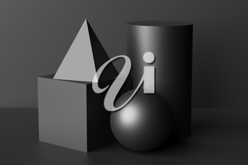 Abstract geometric platonic solids figures low key black still life composition. Three-dimensional pyramid, cube, cylinder and sphere black objects with shadows on black background. Simple 3d render illustration