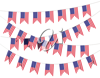 Strings of American flags decorative hanging bunting, bright USA patriotic flags garlands isolated on white background. 4th of July, Independence day holidays decoration 3D illustration