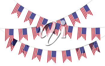 Strings of American flags decorative hanging bunting, bright USA patriotic flags garlands. 4th of July, Independence day holidays decoration 3D illustration