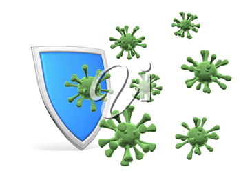 Shield protect form viruses and bacterias isolated on white background 3D illustration, COVID-19 coronavirus protection, medical health, immune system and health protection concept