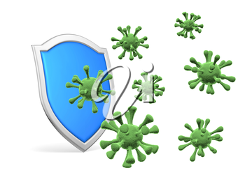 Shield protect form viruses and bacteria cells isolated on white background 3D illustration, COVID-19 coronavirus protection, medical health, immune system and health protection concept