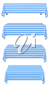 Oktoberfest rectangular tablecloth with blue-white checkered pattern set isolated on white, front view, traditional Oktoberfest festival decorations, 3d illustration collection