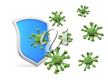 Shield protect form viruses and bacterias isolated on white 3D illustration, coronavirus protection, medical health, immune system and health protection concept