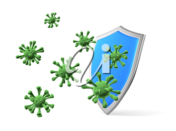 Shield protect form viruses and bacteria cells isolated on white 3D illustration, coronavirus protection, medical health, immune system and health protection concept
