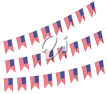 USA flags strings decorative hanging bunting, bright American patriotic flags garlands isolated on white. 4th of July, Independence day holidays decoration 3D illustration.