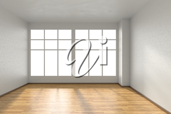 Empty room with hardwood parquet floor, big window and walls with white textured wallpaper and sunlight from window, perspective view, 3d illustration