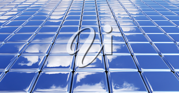 Glossy flat smooth surface made of metal shiny cubes under blue sky with white clouds, abstract blue graphic background with reflections, 3D illustration for different conceptual graphic projects