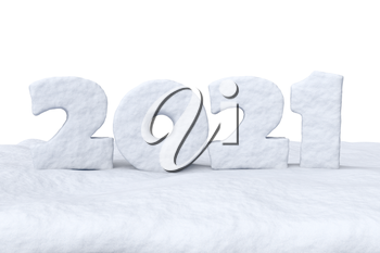 Happy New Year 2021 sign text written with numbers made of snow on snow surface, winter snow symbol 3d illustration isolated on white