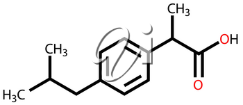 Structural formula of ibuprofen on a white background