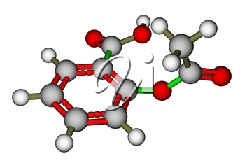 Optimized molecular structure of aspirin on a white background