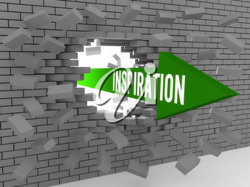 Arrow with word Inspiration breaking brick wall. Concept 3D illustration.