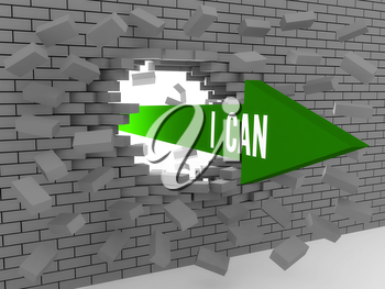 Arrow with phrase I Can breaking brick wall. Concept 3D illustration.