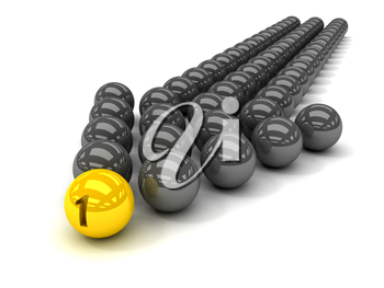 Grey arrow of the balls with the gold leader in front. Concept 3D illustration
