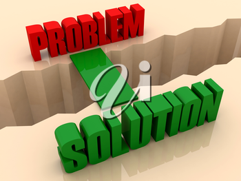 Two words PROBLEM and SOLUTION united by bridge through separation crack. Concept 3D illustration.