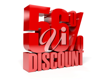 56 percent discount. Red shiny text. Concept 3D illustration.