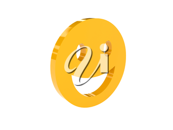 Laugh face icon over white background. Concept 3D illustration.