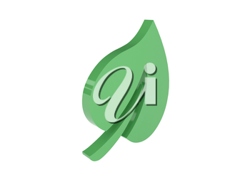 Green leaf icon over white background. Concept 3D illustration.