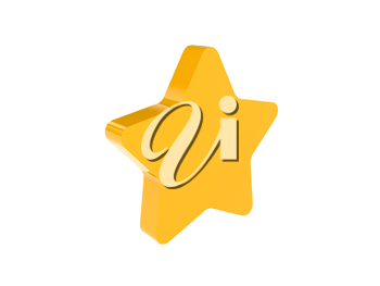 Star icon over white background. Concept 3D illustration.