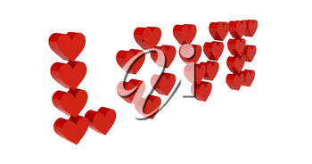 Red hearts set in word LOVE. Concept 3D illustration.