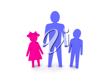 Man with children. Single-parent family. Concept 3D illustration.
