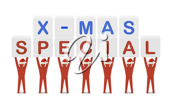 Men holding the words X-mas Special. Concept 3D illustration.