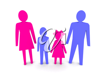 Family with children. Concept 3D illustration.