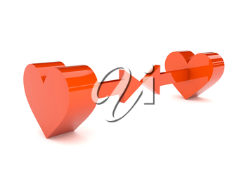 Two hearts with arrows pointing at one another. Concept 3D illustration.