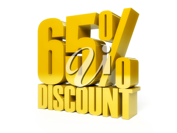 65 percent discount. Golden shiny text. Concept 3D illustration.
