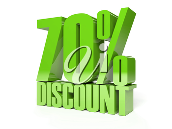 70 percent discount. Green shiny text. Concept 3D illustration.
